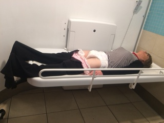 Cathy on changing table at Lakeside