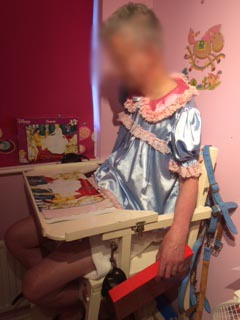 Sissy Pauline in high chair