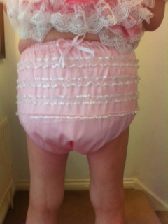 Pink satin frilly adult baby plastic pants for sale