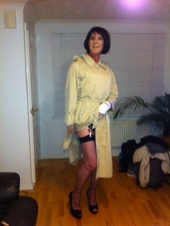 Trannie in raincoat
